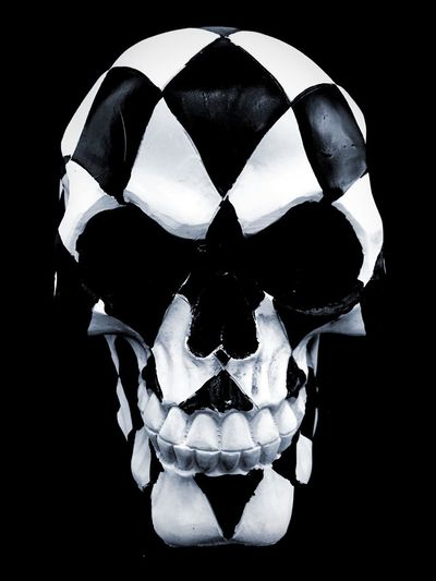 Harlequin Skull Gothic Eyes Light And Shadow Black Background Black And White Abstract Art Skull Black Background No People Studio Shot Close-up