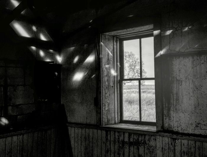 Sunshine Abandoned Closed Countryside Damaged Day Deterioration Glass - Material Indoors  Kansas No People Old Rural America Shadow And Light Stone Schoolhouse Tree Out The Window Wall Window