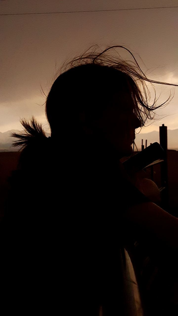 silhouette, real people, lifestyles, one person, leisure activity, women, indoors, day, close-up, sky, young adult, people
