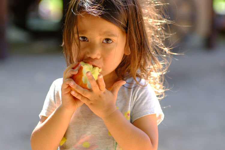 Portrait of young girl eating an apple 3 Year Old Girl Apple California Casual Clothing Child Childhood Children Only Day Eating Food Food And Drink Freshness Front View Fruit Girls Healthy Eating Holding Lifestyles Looking At Camera One Person Outdoors Portrait Real People Sonoma County USA