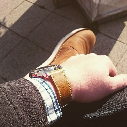 Friday lunch break great weather for my Gas Parka Gaastra casual shirt jeans Kickers boots matching to the strap of my Hamilton watch tanned dapper mensstyle fashion layered