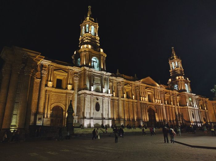 Free Architecture Cathedral Built Structure Night Arequipa Peru Plaza De Armas City Travel Destinations Tower Travel Tourism Clock Government Place Of Worship Sky Clock Tower Large Group Of People Illuminated Vacations Cultures Outdoors People Astronomy First Eyeem Photo