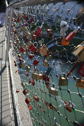 Bridge Bridge - Man Made Structure Close-up Day Love Lock Metal Outdoors Salzburg