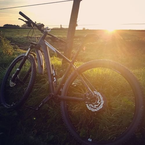 Mountain Bike Resting Active Lifestyle Sport EyeEm Selects Tree Sunlight Sunset Rural Scene Lens Flare Sky Landscape Stationary Bicycle Pedal