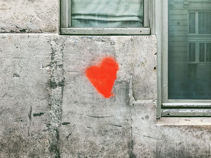 Close-up of heart shape painted on wall
