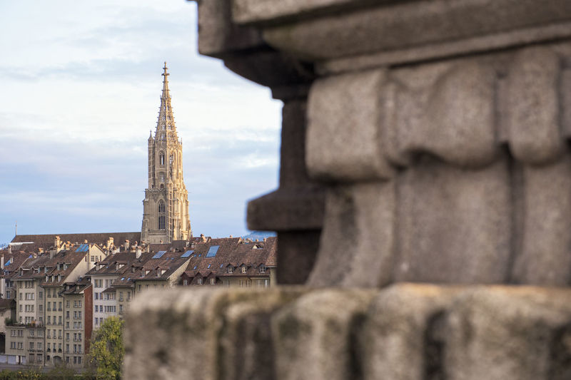 Berner Munster Cathedral Berner Münster Cathedral Ancient Civilization Architecture Bell Tower Bern Switzerland Building Exterior Built Structure City Day History Low Angle View Outdoors Place Of Worship Religion Sky Spirituality Statue Travel Destinations