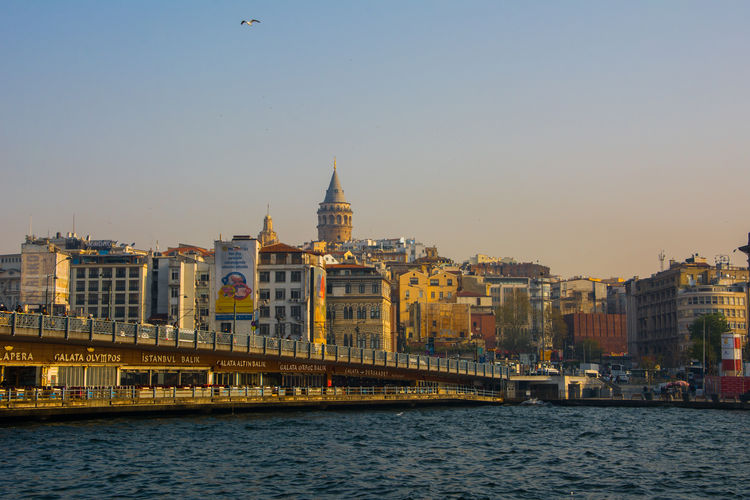 the view of Istanbul Architecture Built Structure Building Exterior Water Sky City Waterfront Transportation Cityscape Copy Space Building Istanbul Galata Turkey