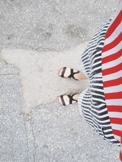 Striped Low Section One Person One Woman Only Summer Women Outdoors Red Red White Black Stripes Pattern Stripes Straight Lines Fashion Clothes Striped Pattern Striped Clothing Samsungphotography The Week On EyeEm Fashion Stories