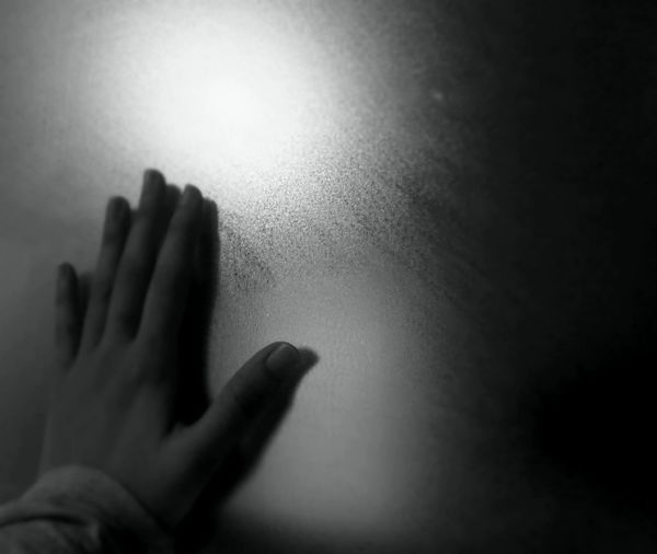 Stop! Mirror Stop Abuse  Black And White Frost Glass Frosted Glass Human Body Part Human Hand Indoors  One Person People Real People Trapped
