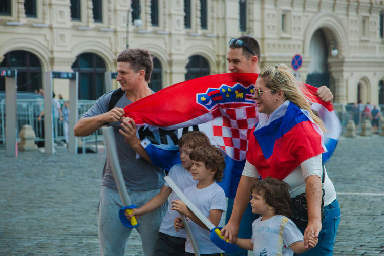 Fifa Fan Fest 2018 Adult Architecture Boys Building Exterior Child Childhood Daughter Day Family Females Girls Group Of People Males  Men Offspring Parent Positive Emotion Three Quarter Length Togetherness Women