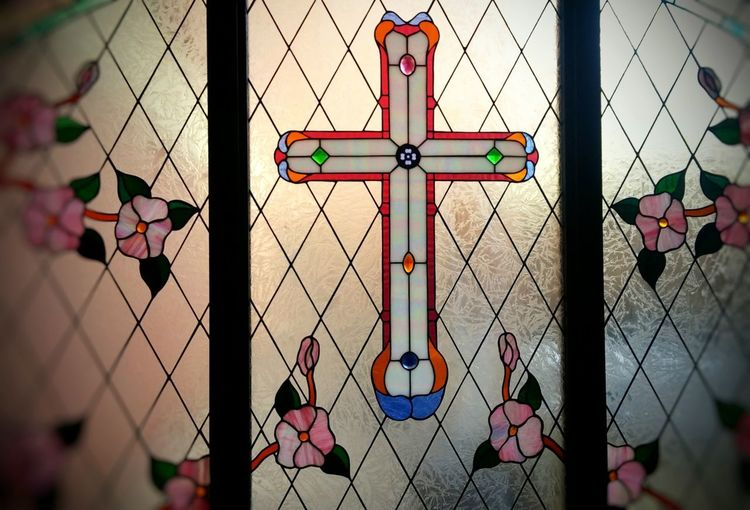 Stained Glass Church Religion Color Color Glass Window Light Cross