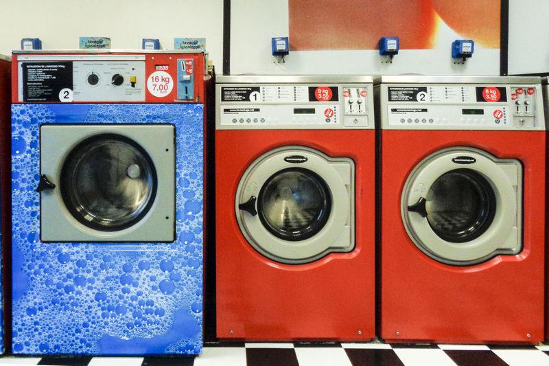 laundromat Washing Machine Machinery Appliance Laundromat Red Laundry Cleaning Hygiene Side By Side No People Multi Colored