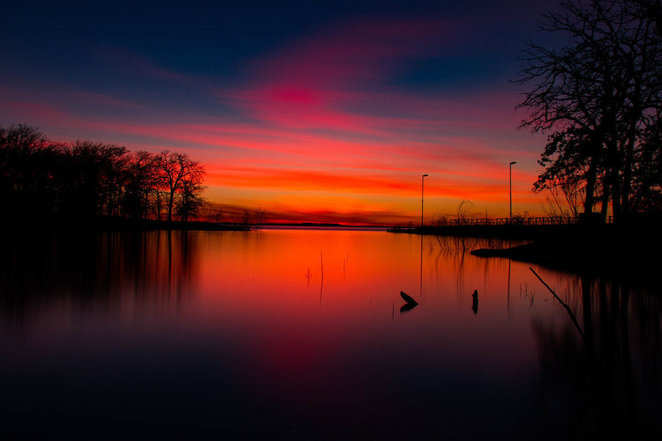 Blue Orange Red Silouette & Sky Sunset Sunset Silhouettes Texas Texas Landscape Texas Skies Texas Sky Water Reflections