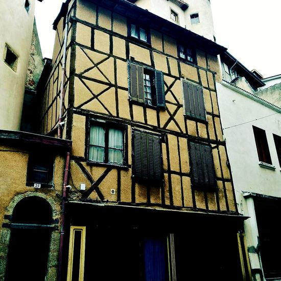 Medieval city of Thiers, in the Auvergn Rhone Alps region, France Building Exterior Architecture Window Built Structure Low Angle View Outdoors No People Residential Building Day