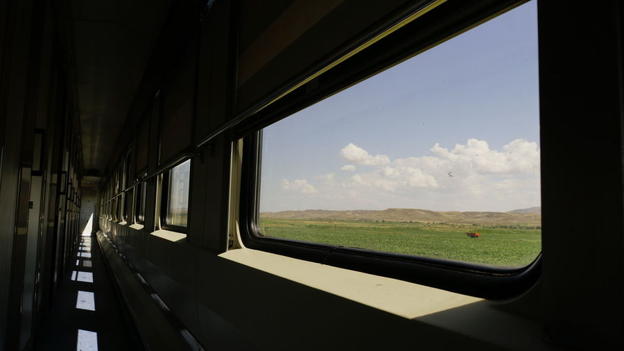 Scenic view of train seen through window