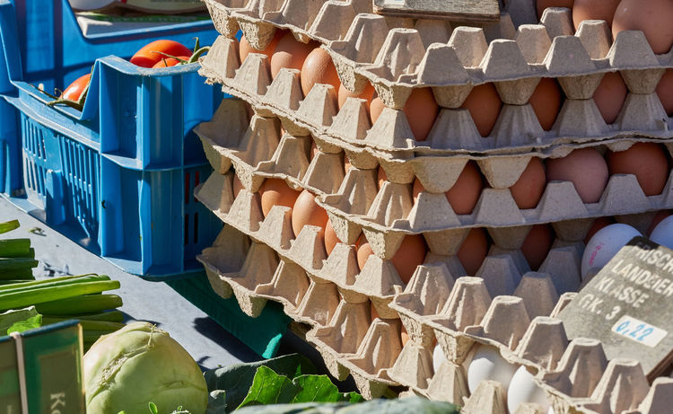 Fresh eggs in pallets are offered on a local market Colorful Eatng First Eyeem Photo Freshness Green Color Healthy Local Landmark Low Carb Nature Nature_collection Orange Color Pumpkin RGanimals Vegetable