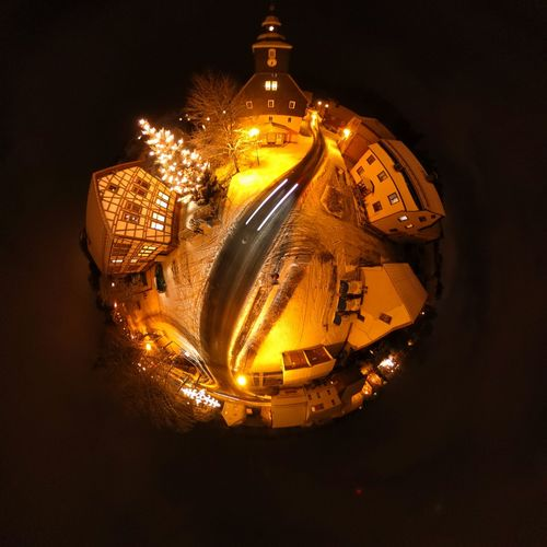 Illuminated Lighting Equipment Gold Colored No People Night Church Kirche Theta Theta360 Miniplanet Miniplanete