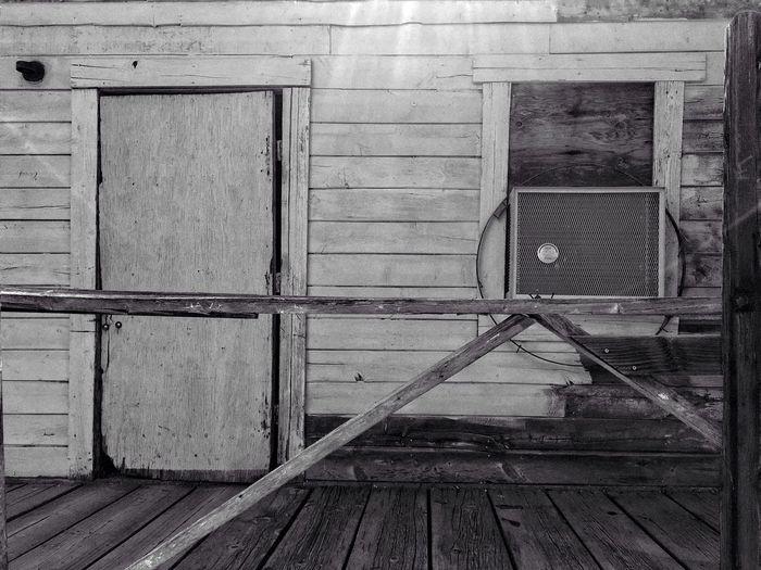 Old wooden door of building