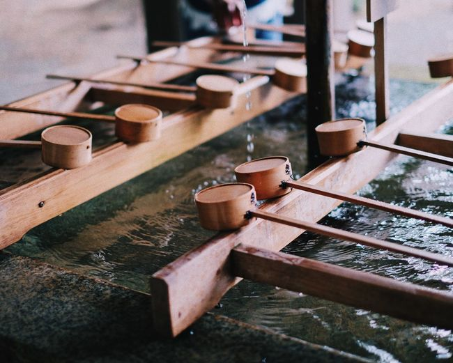 High angle view of bamboo fountain