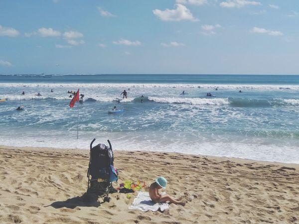 Travelling Pantai Kuta (Kuta Beach) Bali INDONESIA Indonesia Photography  2018 Kids Water Sand Pail And Shovel Sea Wave Beach Sand Summer Sky