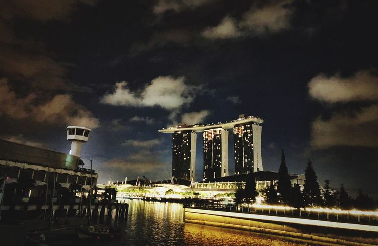 View Singapore Transportation Cloud - Sky Mode Of Transportation Sky Built Structure Architecture Car Land Vehicle Motor Vehicle No People Nature Road Illuminated Building Exterior Street City Outdoors Night Travel Water