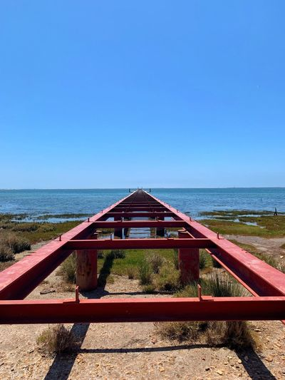 Abandoned Pier Walk The Plank Follow Walkway Pier Water Sky Sea Clear Sky Nature Horizon Over Water Beach Horizon Day Sunlight No People Tranquil Scene Copy Space Blue