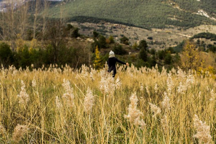 Woman Walking On Grassy Field