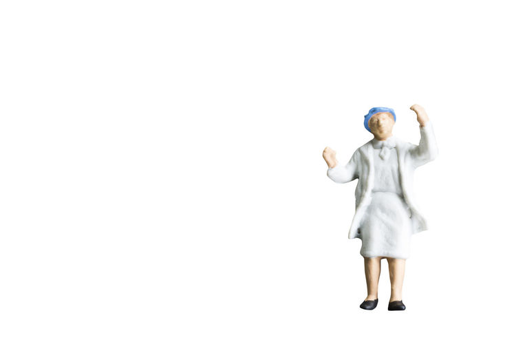 Miniature People White Background Isolated Concept Figure Toy Business Small Businessman Tourist Close Up Space Clipping Path