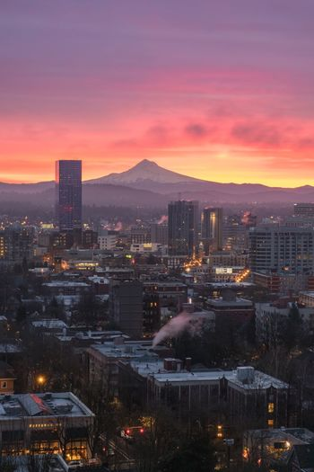 Portland Oregon Architecture Cityscape Building Exterior Built Structure Illuminated City Sunset Mountain Sky No People Outdoors Travel Destinations Skyscraper Night Urban Skyline Nature Snow Beauty In Nature EyeEmNewHere