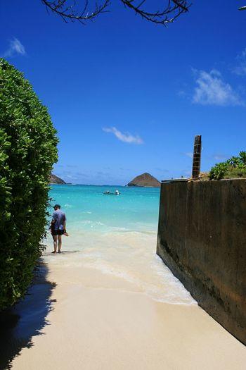 Kailua Beach Hawaii Sky Sea Beach Water Blue Full Length Two People Nature Beauty In Nature
