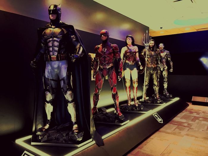 Justice League DC Comics Justice League Wonder Woman Superman Aquaman Flash Batman Road Trip USA New York City Human Representation Indoors  Male Likeness Full Length Statue No People Day
