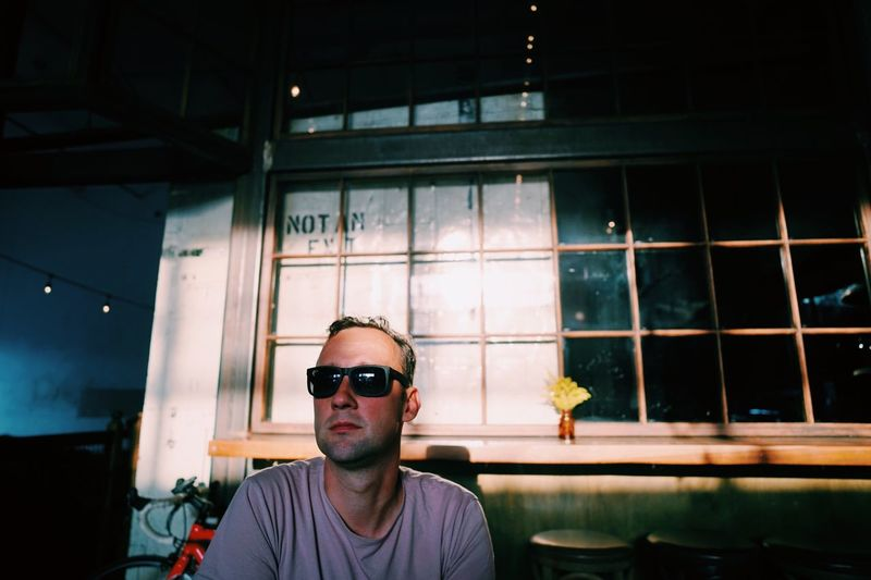 Waiting for a Kölsch // Sunglasses Real People Young Adult One Person Front View Looking At Camera Portrait Young Men Indoors  Night People