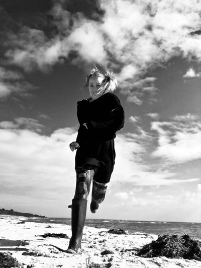 Run like the wind Beach Beauty In Nature Casual Clothing Cloud - Sky Day Full Length One Person Outdoors Sea Sky Water