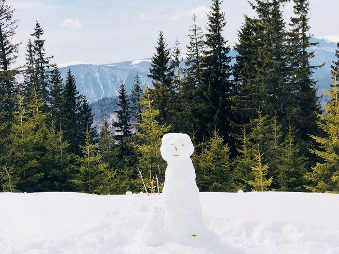 One big snowman and one little snowman with forest of evergreen trees and mountains