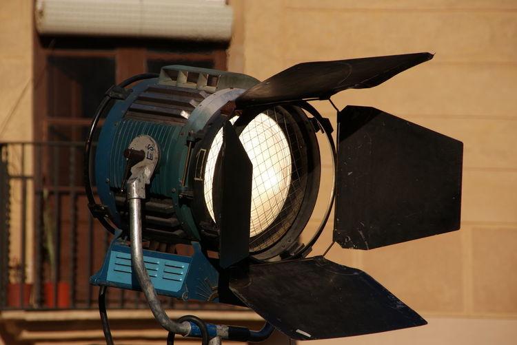 Close-Up Of Illuminated Fresnel Light