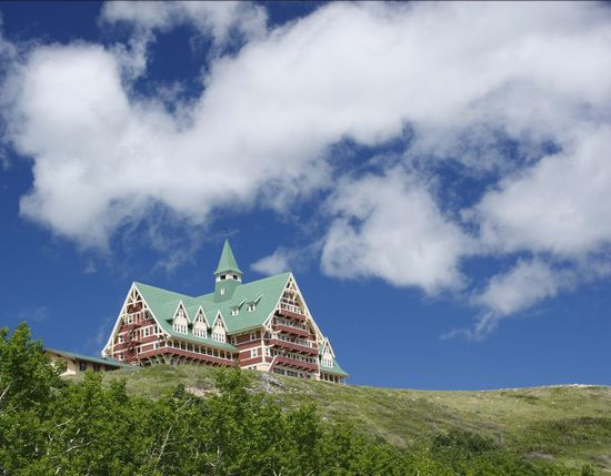 The house on the hill. Actually this is the Prince of Wales Hotel in Waterton National Park, Alberta. Built Structure Building Exterior Architecture Lookingup Hill Cloud - Sky Travel Destinations Landscape_photography Landscape_Collection Mountains And Sky Waterton National Park Alberta Canada National Park