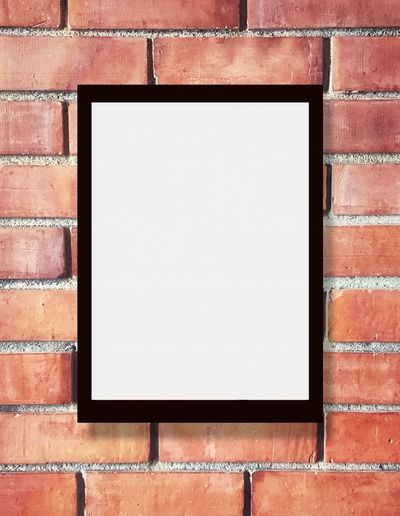 Text Message EyeEm Selects Blank Brick Wall Copy Space Brick Wall Wall - Building Feature Built Structure Advertisement Architecture Picture Frame No People Shape Marketing Building Exterior Black Color White Color Frame Geometric Shape Textured  Close-up