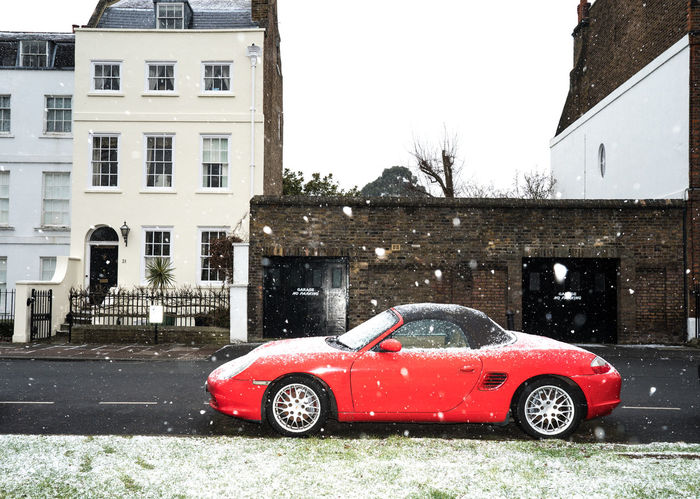 Snow ❄ Wintry Architecture Bare Tree Beast From The East Building Exterior Built Structure Car Cold Temperature Day House Land Vehicle Mode Of Transport No People Outdoors Red Snow Snowing Transportation Tree Window Winter Winter Weather