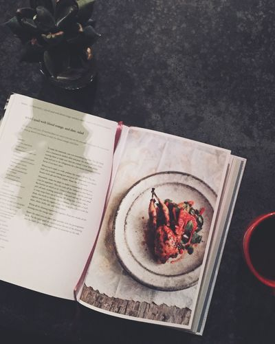 Food And Drink Food Foodie Cooking At Home Reading & Relaxing Table Cup Reading Cookbooks Cookbook High Angle View Food And Drink Plate Still Life Freshness No People Indoors  Food Directly Above Table Close-up Healthy Eating