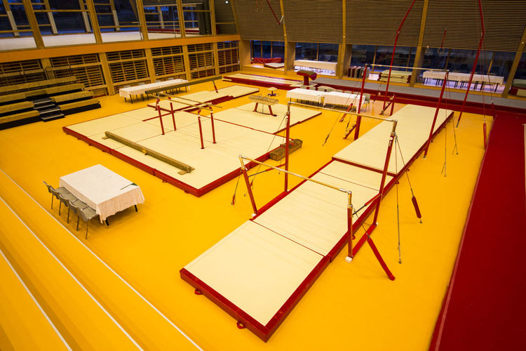 High angle view of yellow machine in empty room