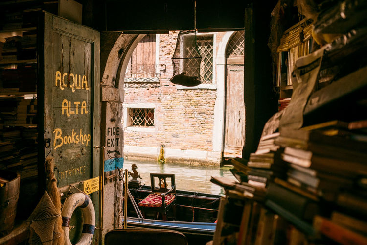 Venice Library Book Store Old Canal Boat