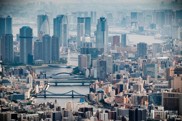 Architecture City Modern Urban Capital Cities  Tokyo City Life No People Aerial Shot Built Structure High Angle View Aerial View Japanese  Cityscape Concrete Jungle Canal River Financial District  Tokyo,Japan Skyscraper A Bird's Eye View