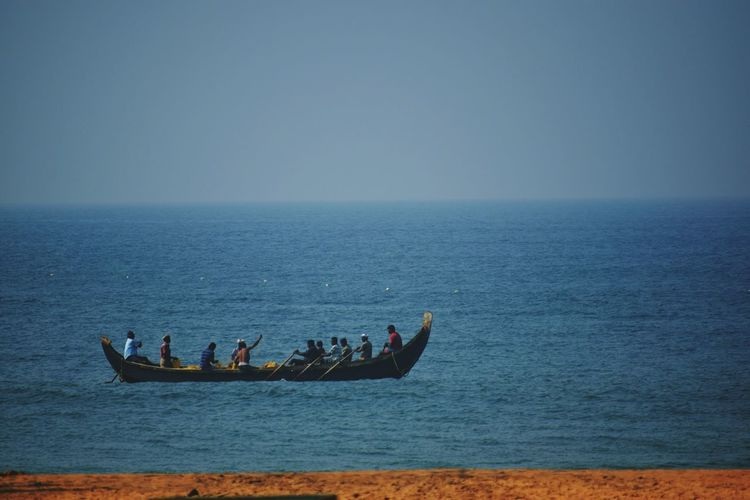 Water Sea Beauty In Nature Horizon Over Water Outdoors Day People Kerala The Gods Own Country ;) Trivandrum Kerala India Shankumugham Beach Wave Working Hard Teamwork Fishermen's Life Men Large Group Of People Life Real People Occupation Live For The Story