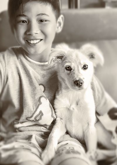 Bestfriends Myboyandhisbud Bestfriends ❤ Looking At Camera One Animal Portrait Domestic Animals Animal Themes Young Animal Cute Childhood Smiling Bonding Happiness