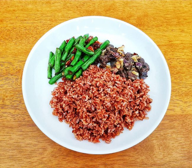 Wild rice wild boar and greens !! Foodie Malaysia Amazing Destination Island Living Tropical Living Borneo Sarawak Lawas Rice Food And Drink Food Healthy Eating Freshness Plate Wellbeing Table Vegetable Directly Above No People High Angle View Ready-to-eat Green Color Organic Healthy Lifestyle Indoors  Still Life Geometric Shape