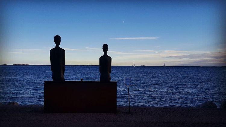 Onni Happiness Bronze Sculpture Rafael  Saifulin Seascape Silhouette Blue Calm Sky Tranquility Sea Monument Beauty In Nature