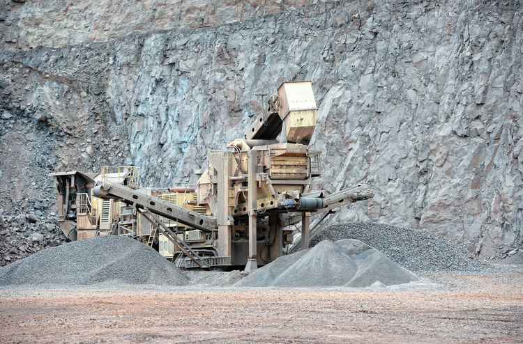 stone crusher in surface mine. hdr image Built Structure Stone Construction Conveyorbelts Stone Crusher Steinbrecher Quarry Rock Steinbruch Mining Industry Mining Mine Conveyor Belt Quarry Conveyor  Transportation Rock Engineering Rock Formation
