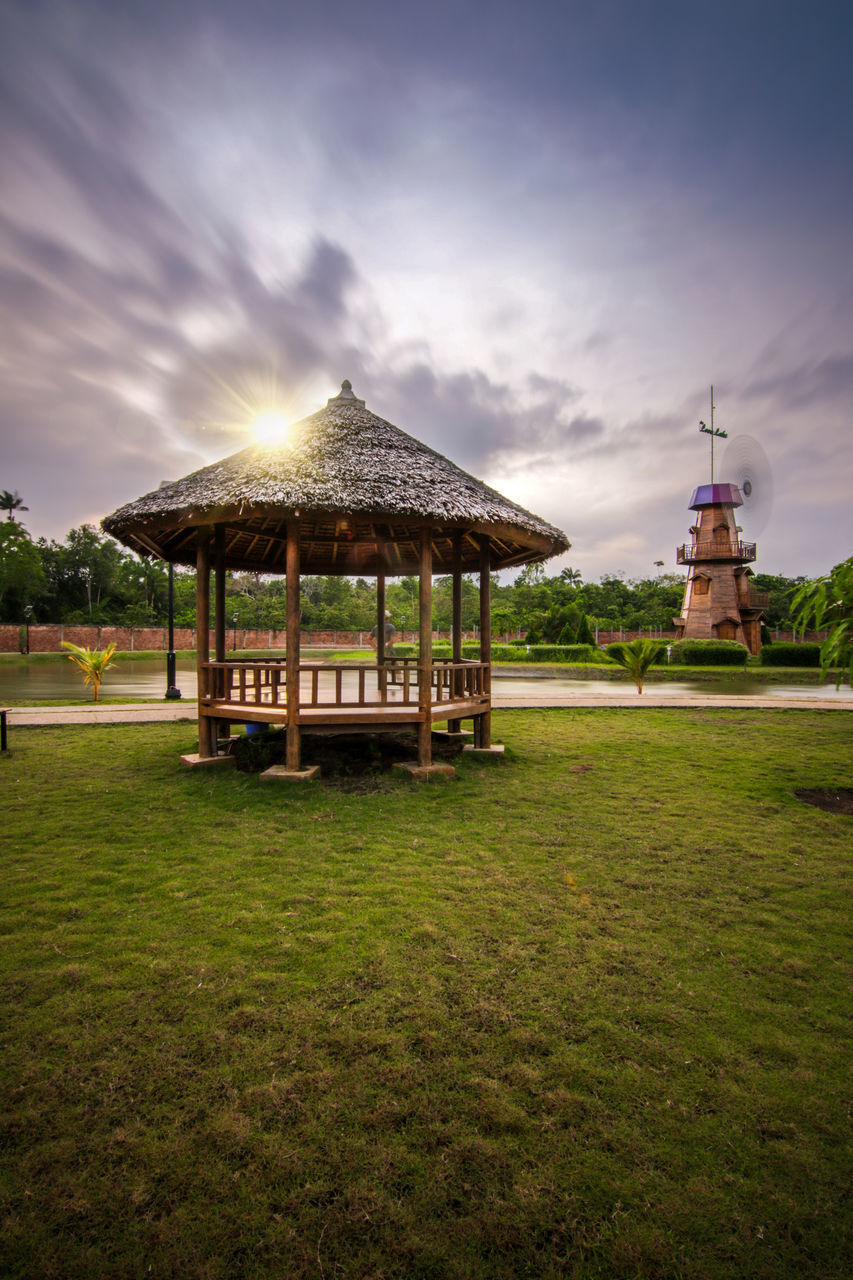 architecture, sky, built structure, cloud - sky, plant, building exterior, nature, grass, building, gazebo, beauty in nature, water, no people, land, tranquil scene, outdoors, tranquility, scenics - nature, day