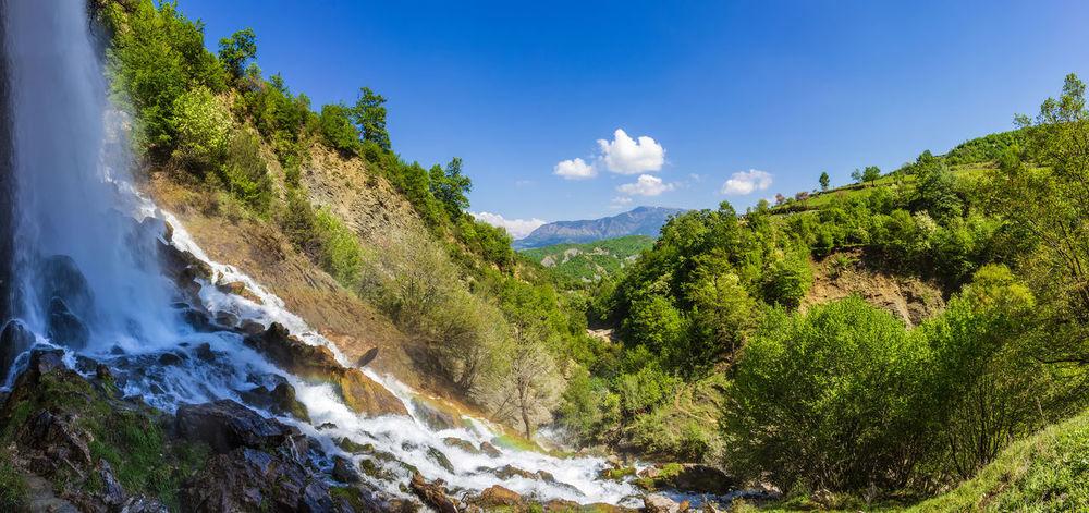 Albania Flowing Water Hiking Nature Panorama Panoramic Panoramic View Sunny Adventure Blue Blue Sky Waterfall