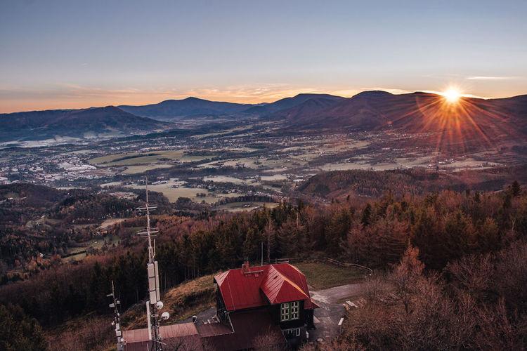 Morning force of the sun awakens the landscape to life on velky ondrejnik mountain